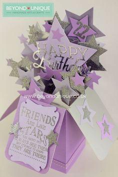 Handmade Pop Up Box Birthday Card Stars Design https://www.facebook.com/BeyondUniqueUK: