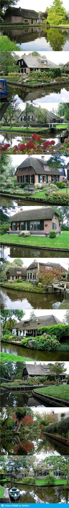 "Giethoorn, Holland.....there is no motor traffic -- all homes are connected by canals and they use ""whisper boats"" to travel these water ways."