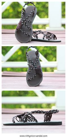 Handmade braided sandals in dark brown and white color.