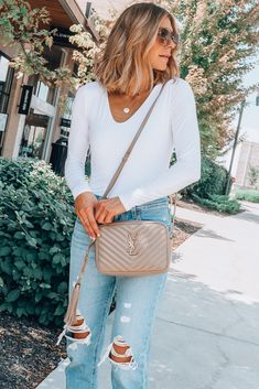 best handbag for fall // favorite investment piece // white bodysuit // distressed high waisted jeans // shoulder length hair cut // fall hair color // mid length styled hair cut // cella jane hair Fall Handbags, Best Handbags, Best Designer Bags, Fall Bags, Cloth Bags, Passion For Fashion, Ideias Fashion, Fashion Brands, Clothes For Women