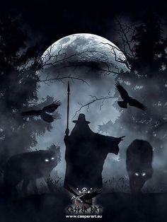 Odin, Huginn Muninn, Geri and Freki by Casper Art