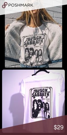 """🌚Black Sabbath T-shirt Classic, soft, white cotton/polyester t-shirt with Black Sabbath silk-screened on the front. 23 3/4"""" center back length. 18"""" across, pit to pit, laying flat. Tops Tees - Short Sleeve"""