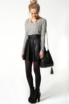 Jules Leather Look Skater Skirt With Belt at boohoo.com