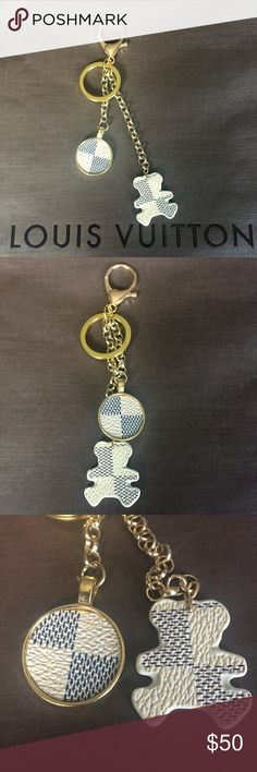 """🆕""""Azur Bear"""" Bag Charm Keychain by TheLouisLady Named """"Azur Bear"""", Authentic Azur Canvas. This can be used as a Bag Charm or Keychain. All Golden Hardware.   All pieces are one of a kind. No two are ever the same! So....get this exact one while it lasts.   I only use Authentic Louis Vuitton Materials, and as many pieces from ripped up Louis Vuitton Bags as I possibly can!!   I craft fine jewelry and am a long time trusted seller in this area, and online.   I ship everyday! No wait time! I…"""