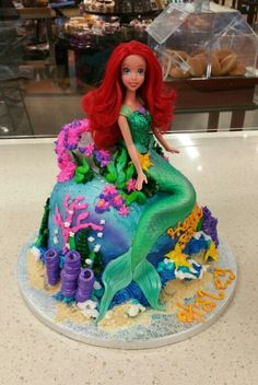 The Little Mermaid themed doll cake in buttercream with fondant accents.