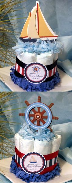Sailboat Nautical Diaper Cake Centerpiece