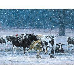 Bonnie Mohr One Snowy Night Cow Farm Art Print