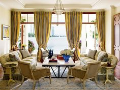 formal outdoor living spaces | Classic style formal living room overlooking a waterway