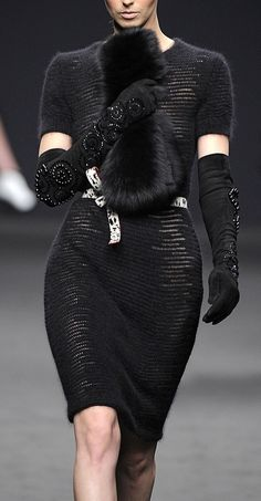 Angelo Marani Fall 2013 RTW latin chic evening wear love the floral beaded elbow length glove accessory
