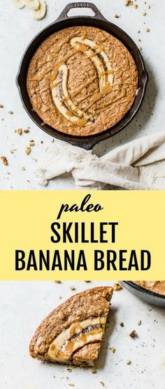 Paleo Skillet Banana Bread- banana bread that's gluten free, refined sugar free and better for you with all the tasty banana flavor you're . Paleo Baking, Gluten Free Baking, Paleo Bread, Dairy Free Recipes, Paleo Recipes, Paleo Meals, Flour Recipes, Oven Recipes, Almond Banana Bread