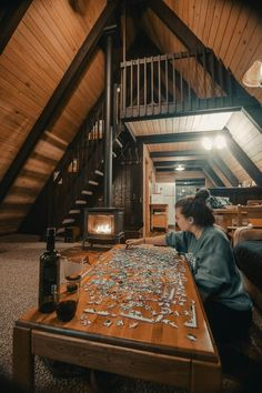 ITAP of our cozy night at the cabin Tiny House Cabin, Tiny House Living, Cabin Homes, Cozy House, A Frame House Plans, A Frame Cabin, Cabin Interiors, Cabins And Cottages, House Goals
