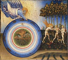 The Creation of the World and the Expulsion from Paradise - Giovanni di Paolo (Giovanni di Paolo di Grazia) (Italian, Siena 1398–1482 Siena), 1445. Tempera and gold on wood, 18 1/4 x 20 1/2 in. (46.4 x 52.1 cm) | The Met