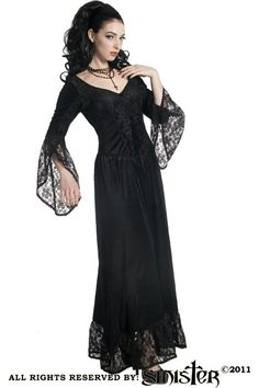 Petra Black Velvet & Lace Gothic Dress by Sinister