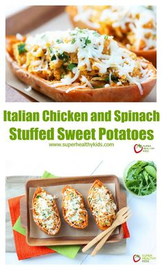A warm savory dinner, Italian Chicken and Spinach Stuffed Sweet Potatoes definitely needs to go on your meal plan. Sweet Potato Recipes, Chicken Recipes, Vegetable Recipes, Cooking Recipes, Healthy Recipes, Healthy Meals, Healthy Options, Healthy Food, Cooking Chicken To Shred