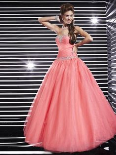 BallGown Sweetheart Tulle floor-length Watermelon Quinceanera Dress at sweetquinceaneradress.com