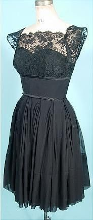 c. 1950's NATHAN STRONG Black Silk Chiffon Dress with Lace Empire Bodice and Cap Sleeves!  Lace is definitely back in Vogue. And chiffon never went out of fashion (at least as far as I know.... but what do I know as I live in a previous century in my vintage world!!).  I don't know this label, and the only info I found was that the Nathan-Strong duo was formed in 1945 by Robert Strong and Morris Nathan. For the larger part of the 1950's, the chief designer was August de Lorenzo who specialized