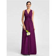 Sheath/Column V-neck Halter Floor-length Chiffon Bridesmaid Dress – USD $ 116.39 Available in Dark Navy