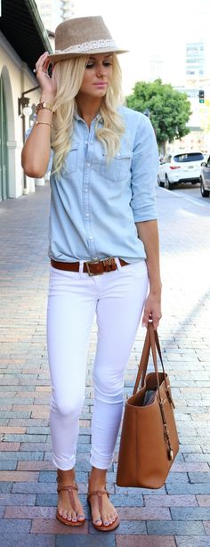 #spring #outfits  Denim Shirt + White Skinny Jeans + Camel Leather Tote Bag