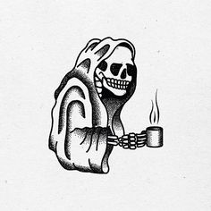 fun little caffeine reaper for a rad client! #reaper #design #illustration #graphicdesign #flash #tattoo #vintage #print #traditional #coffee #caffeine #typography #stamp #skull #skeleton