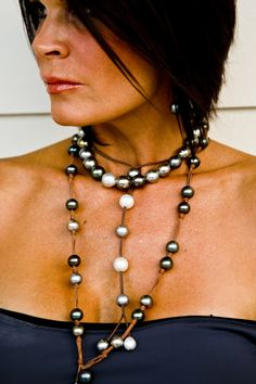 Fine Pearls + Leather Jewelry® wendymignot.com #TahitianPearls #wendypearls #wendypearls
