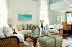 15 Traditional Tropical Living Room Designs - Fox Home Design Cottage Living Rooms, Home Living Room, Living Room Designs, Living Room Decor, Coastal Living, Coastal Cottage, Nantucket Cottage, House Of Turquoise, Sala Tropical