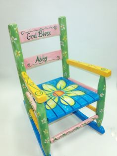 Chldrens Rocking Chair Daisies Custom Pink by RockinThePaint, $150.00