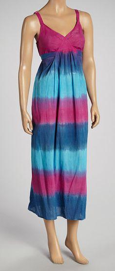 Fuchsia & Turquoise Dip-Dye Maxi Dress