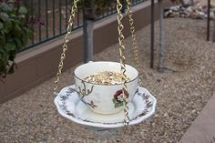 Finished bird feeder with bird seed