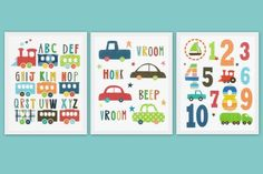 BOYS SET NUMBERS ALPHABET CARS  NURSERY WALL ART PRINT 8X10 KIDS ROOM DECOR