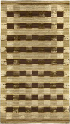 A Vintage Swedish multi-technique rug. A grid design created with alternating flat weave and half pile squares of light nuetrals and browns. Signed BN, Barbro Nilsson and MMFAB, Marta Maas-Fjetterstrom Bastad woven into the striped band at the bottom.