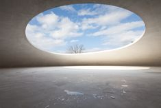 """the-modern-ephemeris: """" Teshima Art Museum, Teshima Island, Japan. Among rice terrasses, you can find this intriguing contemporary artwork shaped like a drop of water. It allows the rain, the wind and..."""