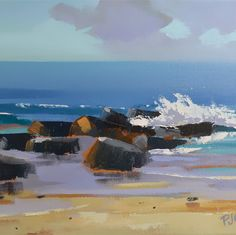 SEASCAPE IMPRESSIONISM OIL PAINTING OCEAN WAVES CRASHING ONTO ROCKS BY PJ COOK #Impressionism