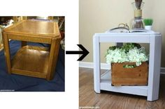 An easy side table makeover from the thrift store. Amazing what some paint can do for a furniture makeover!