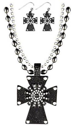 Black Spur Rowel Necklace and Earring Set   ChickSaddlery.com