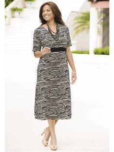 Zebra Surplice Empire Knit Dress