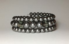 Swarovski Dark Grey Pearls & Crystals Triple by DesignsByJen1, $31.00
