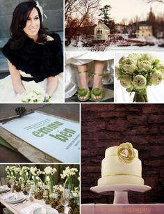 Winter wedding with accents of forest green and bark brown :)