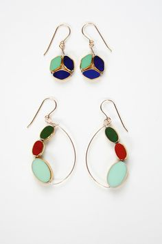 I. Ronni Kappos Gold Earrings made with 1920's and 1930's vintage German glass, and 24K gold-- sooo beautiful!