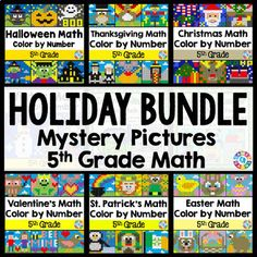 Grade Math Activities: Grade Color by Number Revie Thanksgiving Math, Christmas Math, Halloween Math, 5th Grade Math, Math Activities, Fraction Activities, Math Centers, A Table, Number Sets