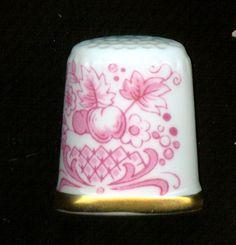 Sutherland fine English bone china thimble pink, pattern M874 via eBay