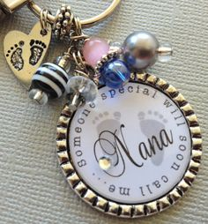 Pregnancy announcement New Grandma Silver Pendant by buttonit, This keychain is a great way to announce a pregnancy or for a new grandma. The antique silver-plated pendant has a 1 First Time Grandma, New Grandma, Photo Prop, Chevron, Baby Shower, Baby Bumps, My Baby Girl, Personalized Baby, Footprint