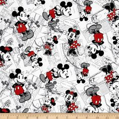 Disney Vintage Mickey Comic Strip Character Toss Black/Red from @fabricdotcom Licensed by Disney to Springs Creative Products, this cotton print is perfect for quilting, apparel and home décor accents. Colors include red, black, grey and white. This is a licensed fabric and not for commercial use.