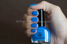 Acquarella water based nail polish swatch in Mahalo (blue) Nail Polish Brands, Nail Polishes, Nails, Water Based Nail Polish, Makeup Trends, Swatch, Beauty Makeup, How To Apply, Cosmetics