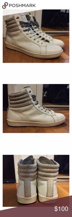 Ted Baker Kilma 2 High Top White Sneakers Size 8 Ted Baker Kilma 2 high top sneakers. Interchangeable gray and white laces (both shown currently on the shoes). Worn once. Excellent condition. Men's size 8. Ted Baker Shoes Sneakers