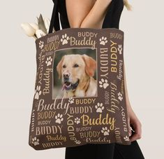 Pet Photo Name Collage - Personalized Photo Names Dog Tote Bags Dog Tote Bag, Tote Bags, Word Cloud Art, Pet Rodents, Dog Throw, Pet Dogs, Pets, Collage Design, Brown Dog