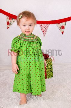 Smocked Christmas Dress Green and Red Dots by RedElephantClothing, $38.00