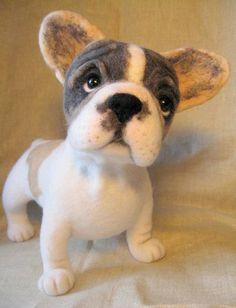 Felted French Bulldog! Needle Felted Animals, Felt Animals, Baby Animals, Cute Animals, Wet Felting, Needle Felting, Felt Dogs, Felt Art, Little Dogs