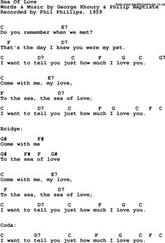 Song lyrics with guitar chords for Sea Of Love - Phil Phillips, 1959 Guitar Chords And Lyrics, Guitar Chords For Songs, Ukulele Songs, Love Songs Lyrics, Music Guitar, Guitar Lessons, Music Lyrics, Sea Of Love Lyrics, Music Lessons