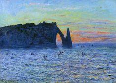 Claude Monet - Étretat, l'Aiguille et la Porte d'Aval, Coucher de soleil
