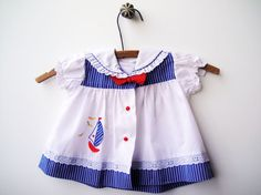 Vintage Baby Girl Sailboat Dress Red White and by StarGlowVintage